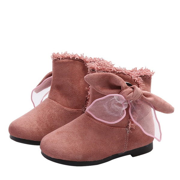 Girl's Round Toe Closed Toe Snow Boots Ankle Boots Leatherette Flat Heel Boots With Bowknot