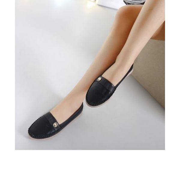 Women's PU Flat Heel Flats Closed Toe With Rivet shoes