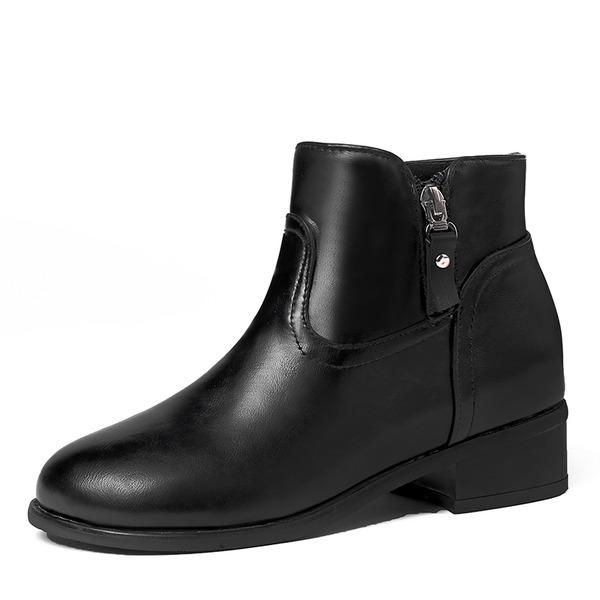 De mujer Cuero Tacón bajo Botas Botas al tobillo con Cremallera zapatos