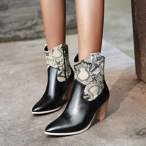 Women's Leatherette Chunky Heel Ankle Boots With Animal Print Zipper shoes