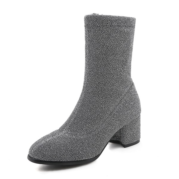 Kadın Süet Kalın Topuk Bot Mid-Buzağı Boots ayakkabı