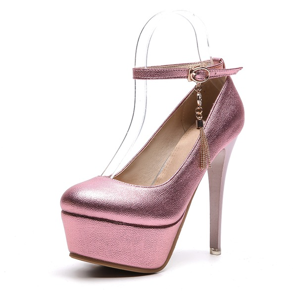 Kvinnor PVC Stilettklack Pumps Plattform med Spänne skor
