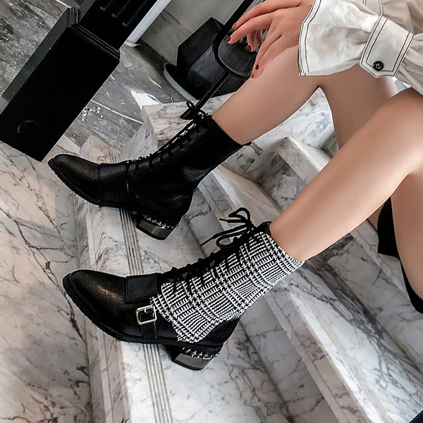 Women's Leatherette Chunky Heel Ankle Boots With Rivet Buckle Lace-up shoes