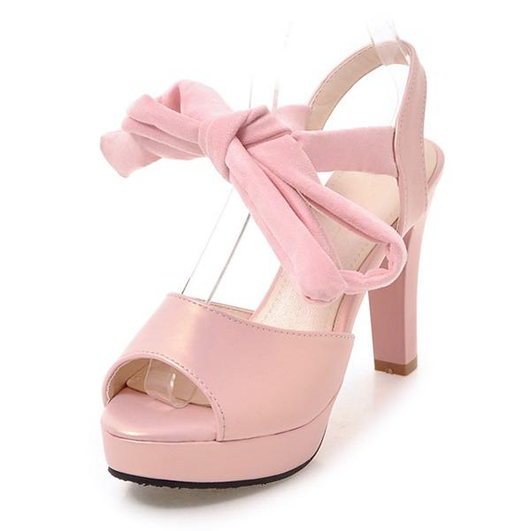Naisten Keinonahasta Chunky heel Sandaalit Avokkaat Platform Peep toe jossa Ribbon Tie kengät