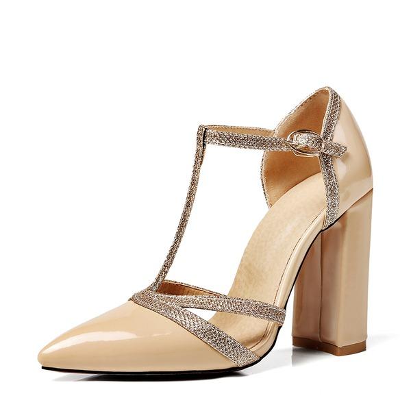 Naisten Kiiltonahka Chunky heel Sandaalit Avokkaat jossa Nauhakenkä kengät