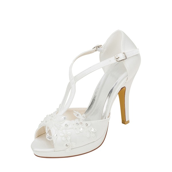 Women's Silk Like Satin Stiletto Heel Peep Toe Platform With Stitching Lace Pearl