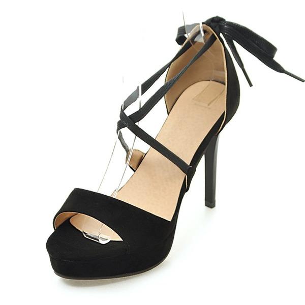 Mulheres Camurça Salto agulha Sandálias Plataforma com Aplicação de renda sapatos