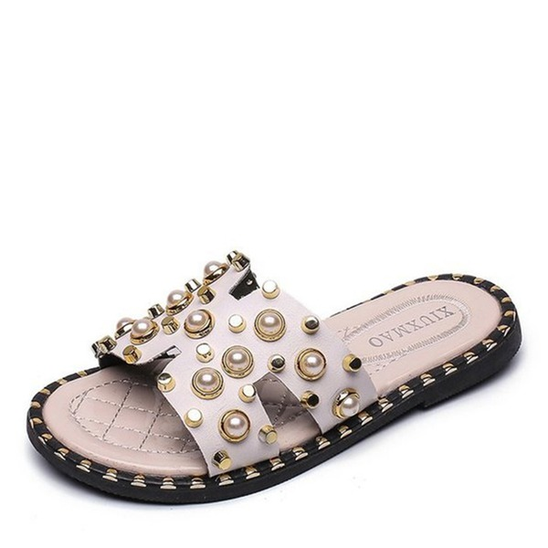 Girl's Peep Toe Leatherette Flats Slippers With Rivet