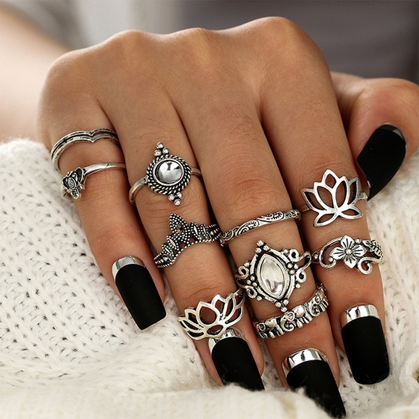 Fashional Alloy Acrylic With Acrylic Women's Fashion Rings (Set of 10 pairs)