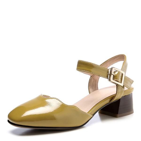 Женщины кожа Устойчивый каблук Сандалии Закрытый мыс обувь
