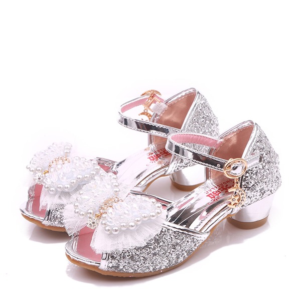 Girl's Peep Toe Microfiber Leather Low Heel Pumps With Beading Bowknot Buckle Rhinestone Sparkling Glitter