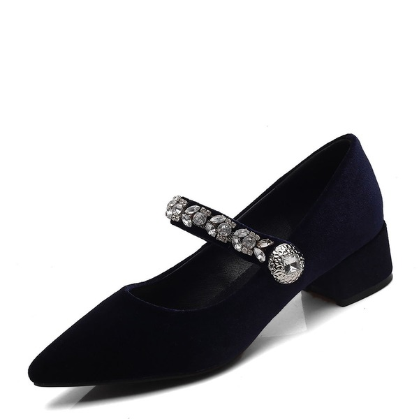 Vrouwen Suede Low Heel Pumps Closed Toe Mary Jane met Strass schoenen