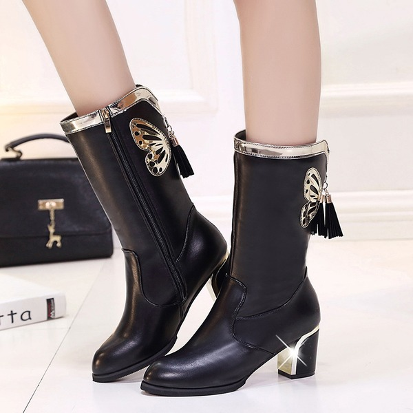 Women's Leatherette Chunky Heel Closed Toe Boots Mid-Calf Boots With Tassel shoes