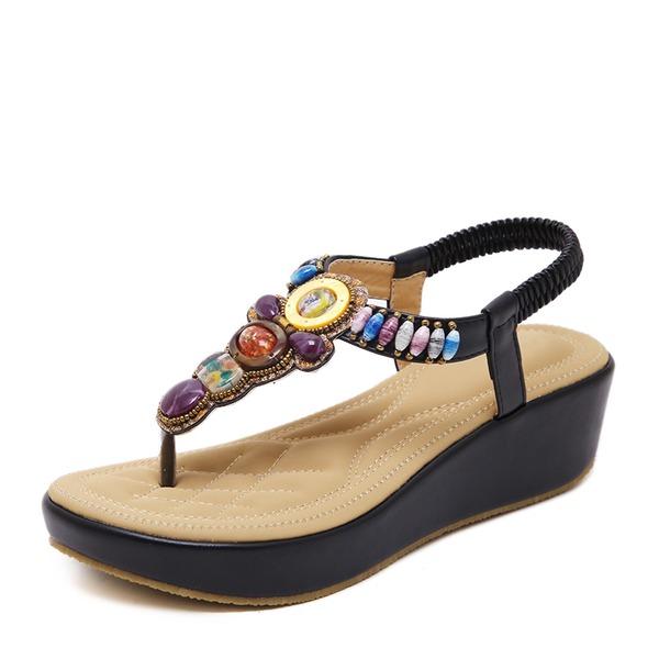 Женщины Замша Вид каблука Танкетка с горный хрусталь обувь