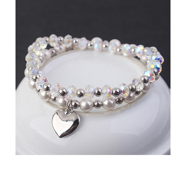 Heart Shaped Crystal Copper With Imitation Crystal Fashion Bracelets (Sold in a single piece)