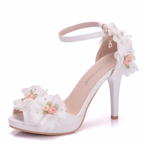 Women's Leatherette Stiletto Heel Peep Toe Platform Pumps With Flower