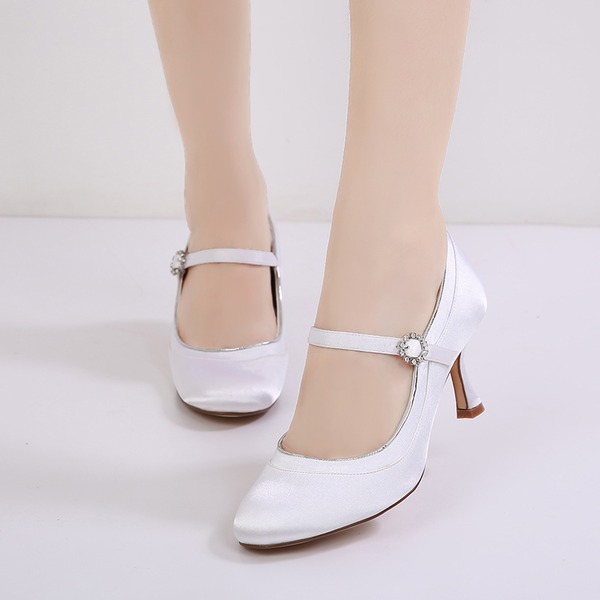 Women's Silk Like Satin Stiletto Heel Closed Toe Pumps With Buckle