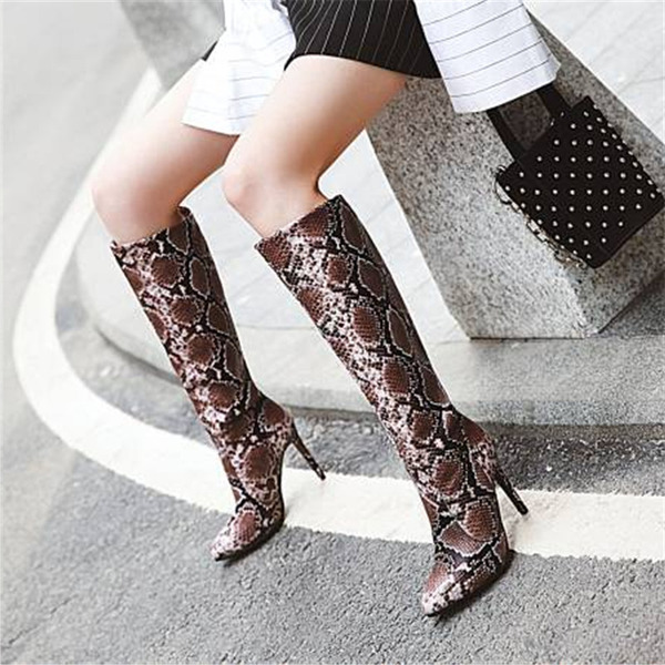 Women's PU Stiletto Heel Knee High Boots With Animal Print Others shoes