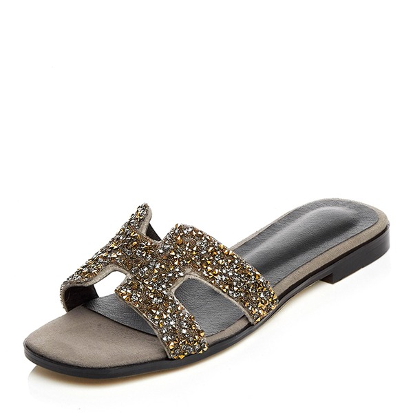 Women's Suede Flat Heel Sandals Flats Slippers With Rhinestone shoes