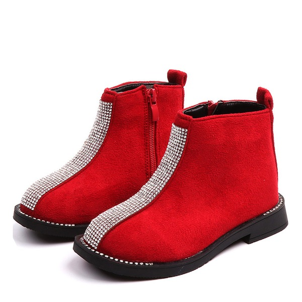 Girl's Round Toe Closed Toe Suede Flat Heel Flats Boots With Crystal