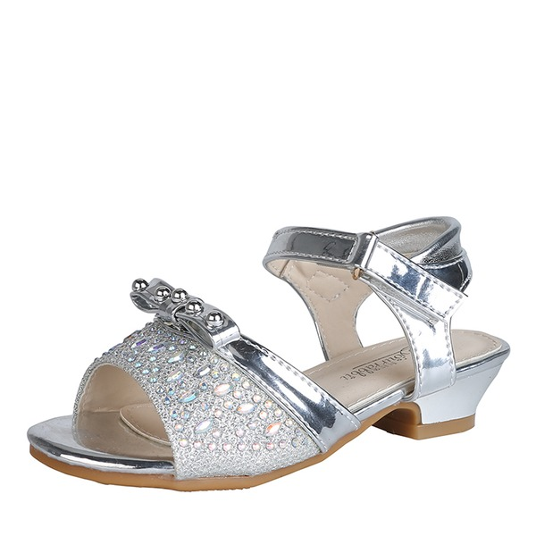 Girl's Peep Toe Slingback Patent Leather Flower Girl Shoes With Bowknot
