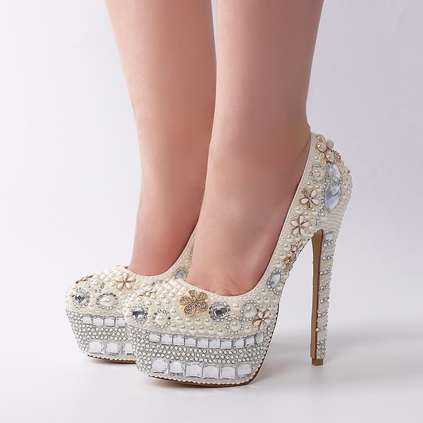 Women's Patent Leather Stiletto Heel Pumps With Imitation Pearl Rhinestone