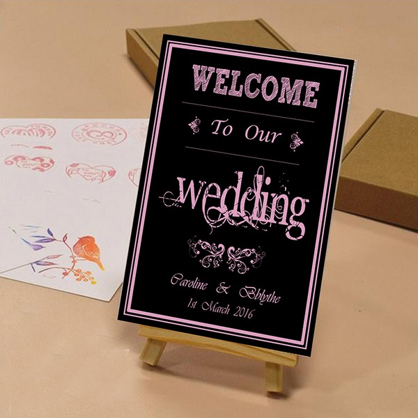 Simple/Classic Attractive Canvas Wedding Sign With Easel
