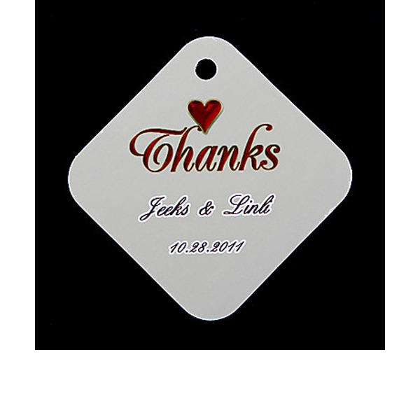 "Personalized ""Thanks"" Hard Card Paper Tags (Set of 36)"