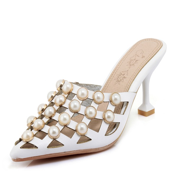 Women's PU Stiletto Heel Sandals Pumps With Imitation Pearl shoes