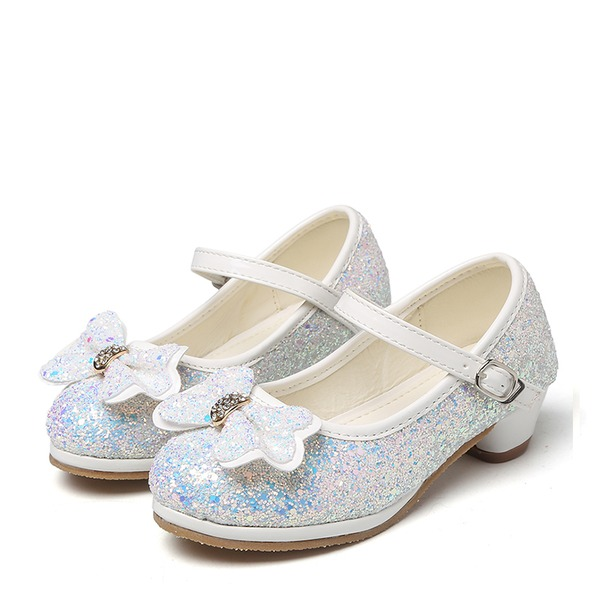 Jentas Round Toe Sparkling Glitter lav Heel Pumps Flower Girl Shoes med Bowknot Rhinestone