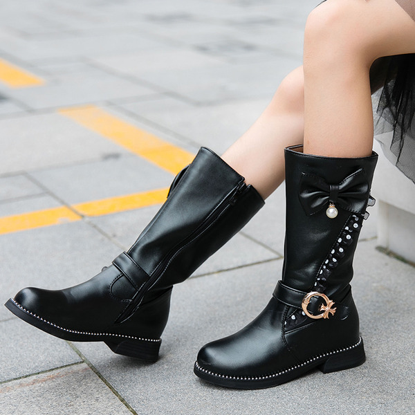 Women's Leatherette Low Heel Mid-Calf Boots With Bowknot Imitation Pearl Buckle Zipper shoes