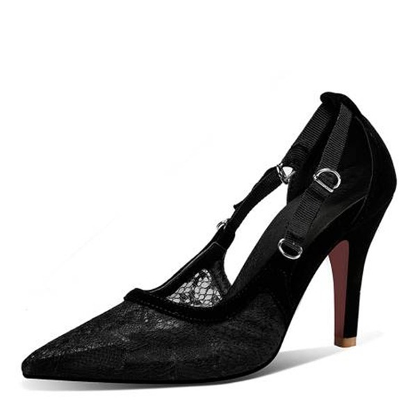 Women's Velvet Mesh Stiletto Heel Sandals Pumps Closed Toe With Hollow-out Split Joint shoes