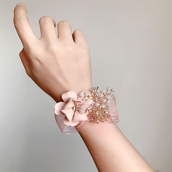 Delicate Hand-tied Imitation Pearl/Artificial Flower Wrist Corsage -