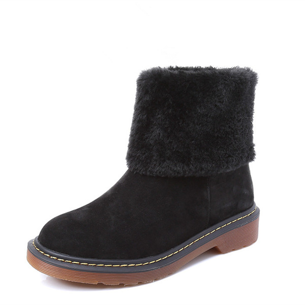 Women's Suede Low Heel Platform Boots Snow Boots With Faux-Fur shoes