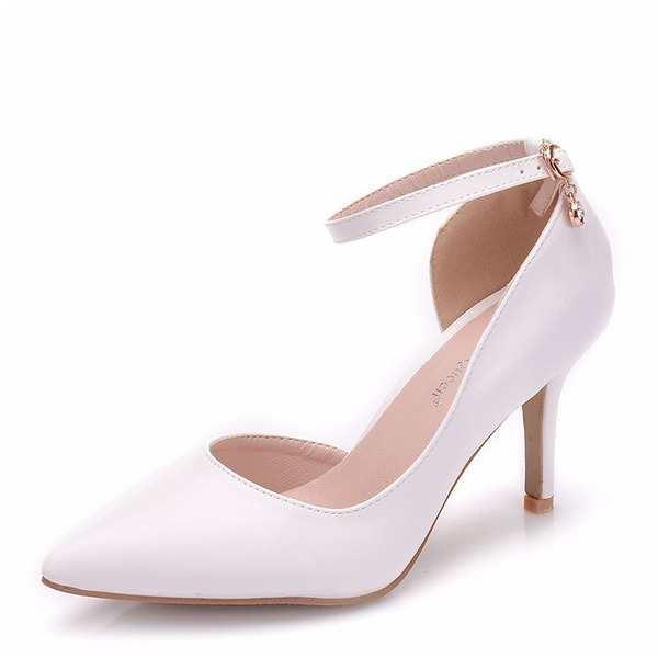 Women's Leatherette Spool Heel Closed Toe Pumps