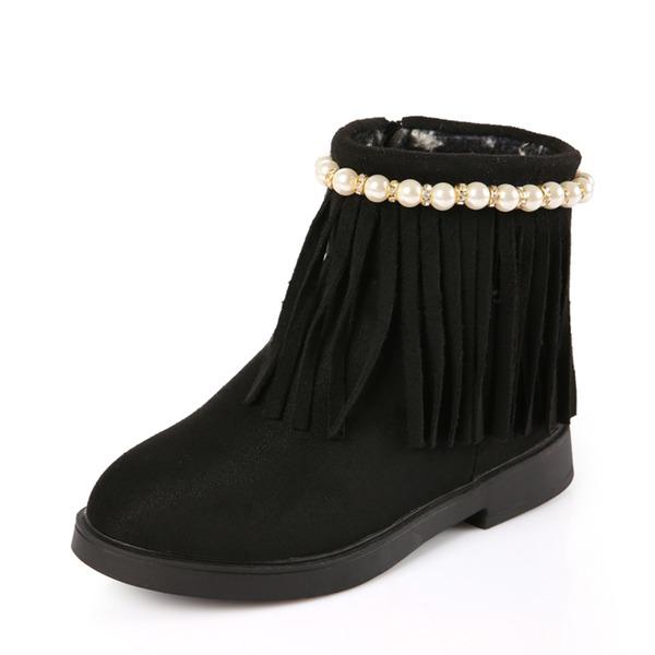 Fille de bout rond Bottines Suède talon plat Chaussures plates Bottes avec Perle d'imitation Tassel Zip