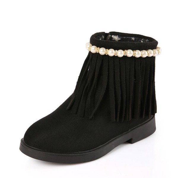 Jentas Round Toe Ankelstøvler Suede flat Heel Flate sko Støvler med Imitert Perle Tassel Glidelås