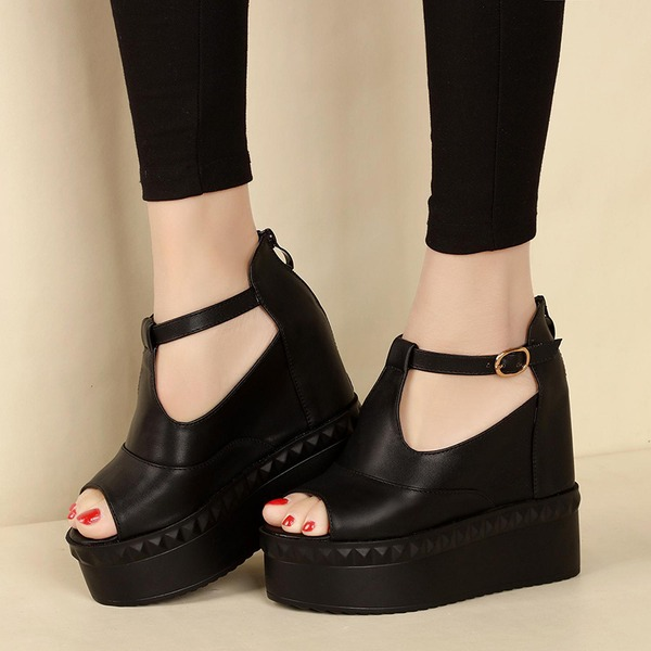Women's Leatherette Flats Peep Toe With Buckle Zipper Hollow-out shoes