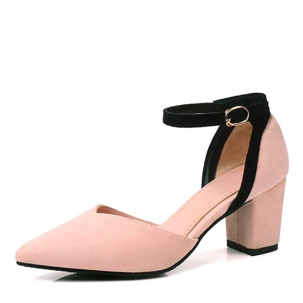 Donna Camoscio Tacco spesso Sandalo Ballerine con Fibbia scarpe