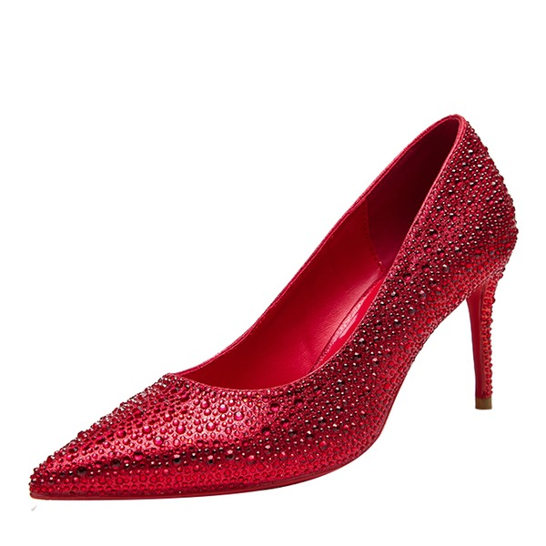 Women's PU Stiletto Heel Pumps Closed Toe With Rhinestone Jewelry Heel shoes