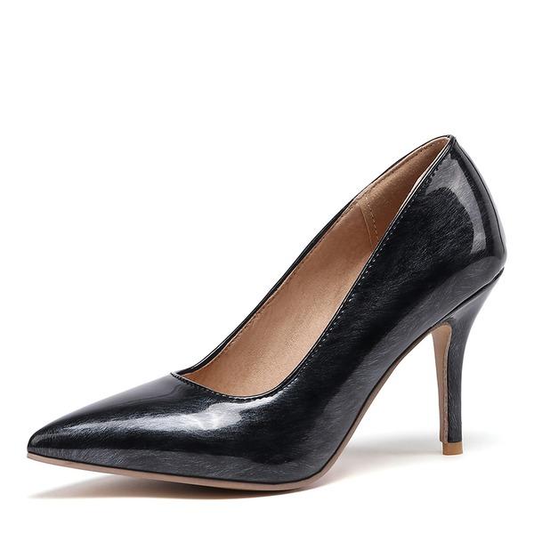Mulheres Couro Brilhante Salto agulha Bombas sapatos