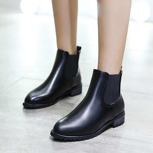 Women's PU Flat Heel Flats Ankle Boots shoes