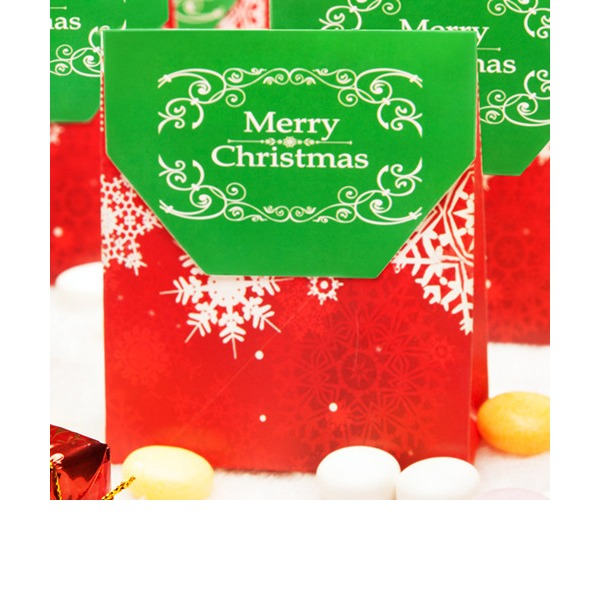 Merry Christmas Snowflake Favor Box/Candy Bag (Set of 12)