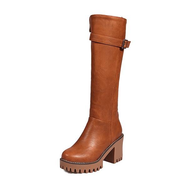 De mujer Cuero Tacón stilettos Salón Cerrados Botas Botas sobre la rodilla con Hebilla Cremallera zapatos