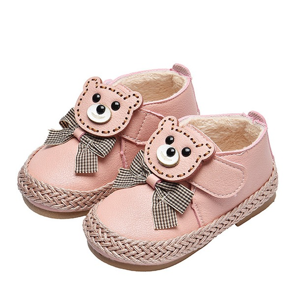 Girl's Round Toe Closed Toe Leatherette Flat Heel Flats Boots With Bowknot Animal Print