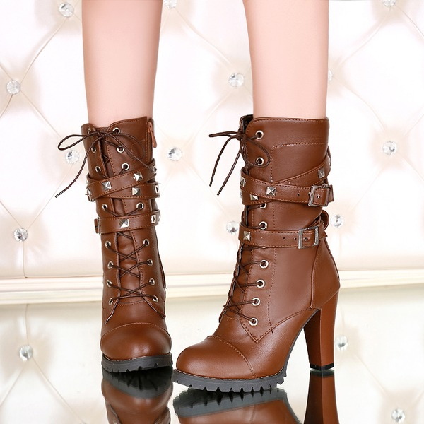 Women's Leatherette Chunky Heel Pumps Boots Mid-Calf Boots With Lace-up shoes