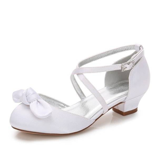 Flicka rund tå Stängt Toe Mary Jane Silk som Satin låg klack Flower Girl Shoes med Bowknot Strass
