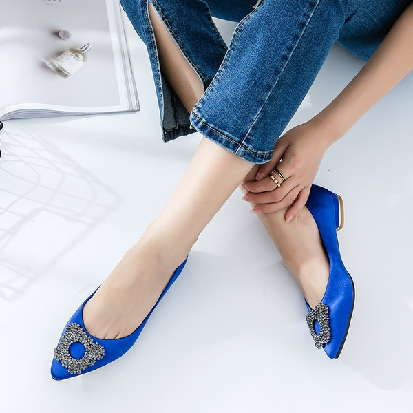 Women's Satin Flat Heel Flats Closed Toe With Rhinestone shoes