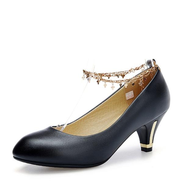 De mujer Cuero Tacón stilettos Salón Cerrados con Cadena zapatos