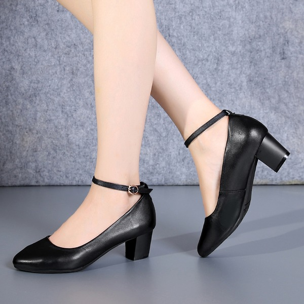 Women's Real Leather Chunky Heel Pumps With Buckle shoes